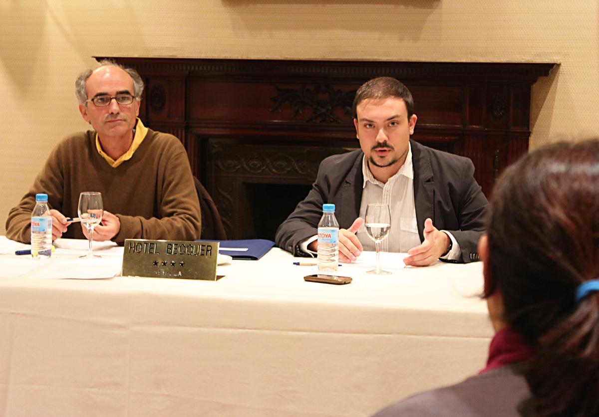 Monsalvete y Fernández en la presentación del Manifiesto por Caixafórum Atarazanas
