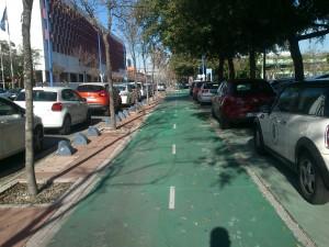 Aparcamientos en la Cartuja: sobre las aceras, junto al carril bici