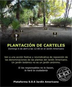 Plantación de carteles en el Jardín Americano