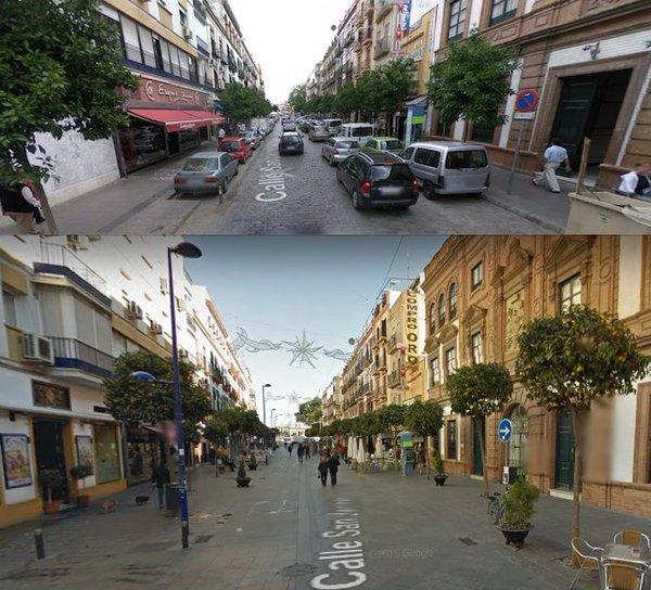El antes y el después en la calle San Jacinto
