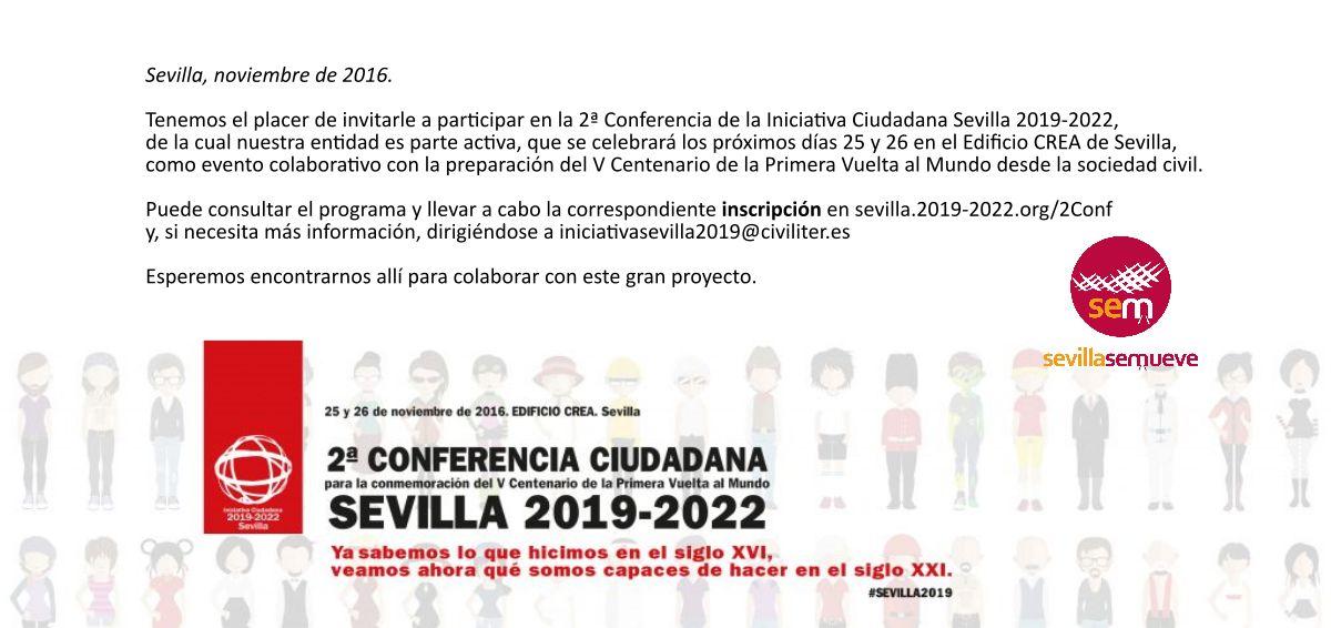 Inscríbete ya en la 2ª Conferencia Ciudadana Sevilla 2019 - 2022