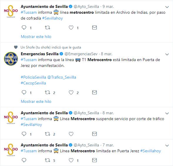 Ejemplos de cortes en el tranvía notificados por el Ayuntamiento de Sevilla