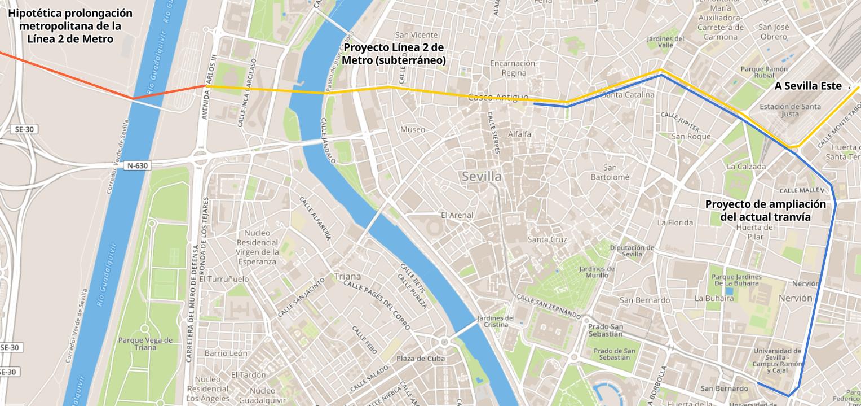 Plano de los proyectos de tranvía y de de Línea 2 de Metro