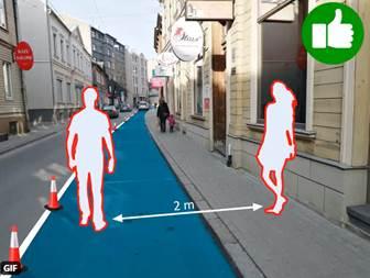 Propuesta de ampliación de acera en Riga (@otucis) y la calle Feria en Sevilla con aceras ampliables a partir del aparcamiento.
